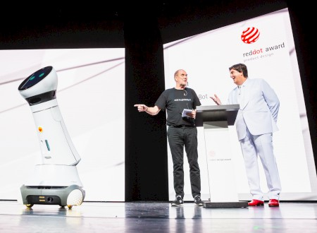 "3 – Red Dot Gala > Announcement as ""Red Dot: Design Team of the Year 2018"" by Care-O-bot 4, Nils Holger Moormann and Professor Dr. Peter Zec"
