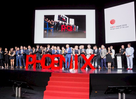 "2 – Red Dot Gala > Phoenix Design on stage to be awarded the ""Red Dot: Design Team of the Year 2018"""