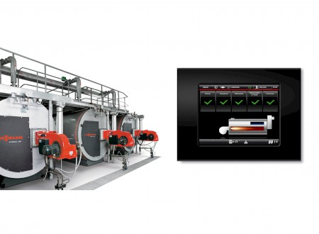 5.) Phoenix Design / Viessmann. View of a boiler facility. The Viessmann steam boilers are being operated via the new touch controls.