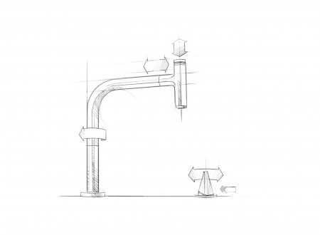 4 - Scribble of the kitchen sink faucet